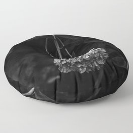 Peony after the rain - Black and White III Floor Pillow