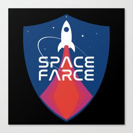 Space Force Space Farce Logo graphic parody Blue Black Military Canvas Print