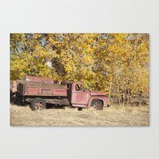 Red Truck in Fall Canvas Print