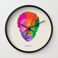 childish gambino Wall Clocks featuring GAMBINO by Hanna