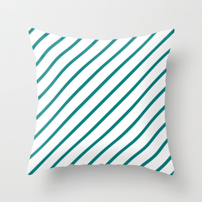 Diagonal Lines (Teal/White) Throw Pillow