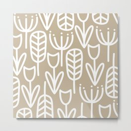 Cheerful Garden Botanical Pattern - Scandinavian Minimalism in White and Neutral Flax Metal Print