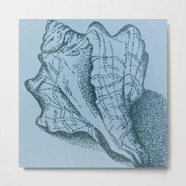 Vintage Sea Shell on Blue II Metal Print