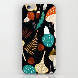 Mushrooms and leaves in autumn iPhone Skin