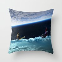 skiing Throw Pillows featuring Skiing by Cs025
