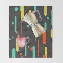 Coffee Pop Art Collage Good Morning Throw Blanket