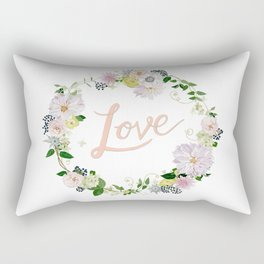 Love Pink Flower Wreath Rectangular Pillow