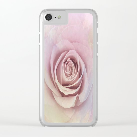 Forever My Love Pink Rose Abstract Clear iPhone Case