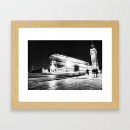 Bus passing Westminster B&W Framed Art Print