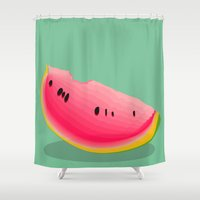 watermelon Shower Curtains featuring watermelon by Britt Mansouri