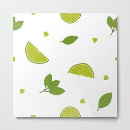 Green Lime and Mint Mojito Print Metal Print