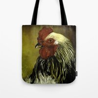 rooster Tote Bags featuring Rooster by LudaNayvelt