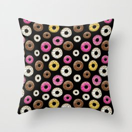 Donut Pattern - Black Throw Pillow