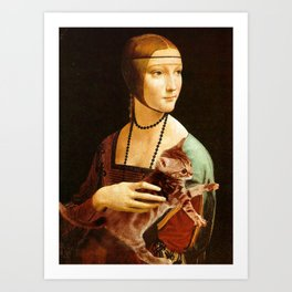 Lady with a Kitten Art Print