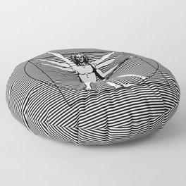Vitruvian man - Les Paul guitar playing D-Chord (version with strips) Floor Pillow
