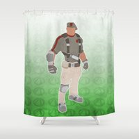 borderlands Shower Curtains featuring Borderlands 2 - Roland by LightningJinx