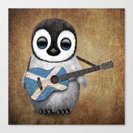 Baby Penguin Playing Scottish Flag Guitar Canvas Print