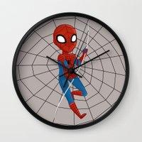 spider man Wall Clocks featuring Spider-Man by Nozubozu