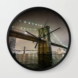 Brooklyn Bridge at night - NYC Wall Clock