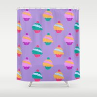 cupcake Shower Curtains featuring Cupcake by Polvo