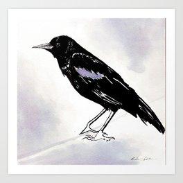 Black Raven Wine Painting Art Print