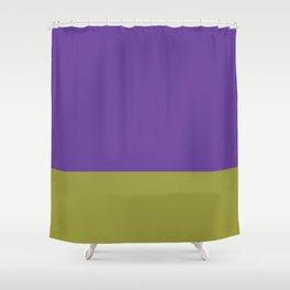 Purple & Lime Color Block Shower Curtain