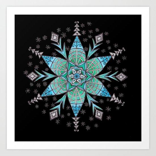 Snowflake Mandala (on black) by katealli