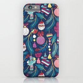 Mexican Christmas Tree // blue background blue pine leaves multicoloured holiday decorations pan dulce balls cacti hearts birds pom-pom garland pinatas santa claus conchas donuts iPhone Case