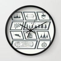 camping Wall Clocks featuring Camping by Corina Rivera Designs