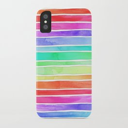 Bright Rainbow Colored Watercolor Paint Stripes iPhone Case