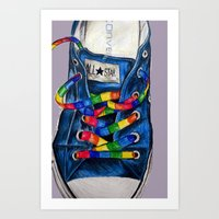 converse Art Prints featuring Converse by Tina Mooney
