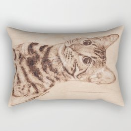 Bengal Cat Portrait - Drawing by Burning on Wood - Pyrography art Rectangular Pillow
