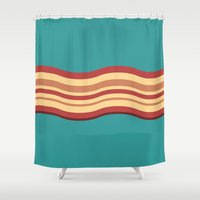 bacon Shower Curtains featuring Bacon by Jiro Tamase