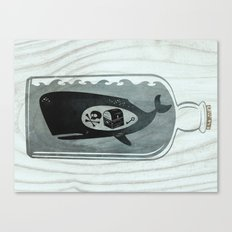 Whale in a Bottle | Treasure and Skull Canvas Print