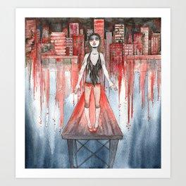 Jin Wei the City Burns for You Art Print