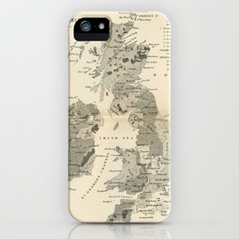Vintage and Retro Geological Map British Isles iPhone Case