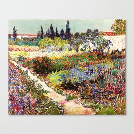 Vincent Van Gogh Flowering Garden Canvas Print