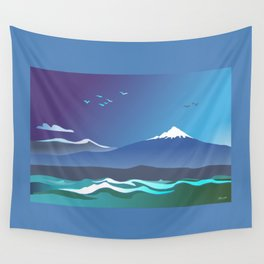 Mont Taranaki From The Sea Wall Tapestry