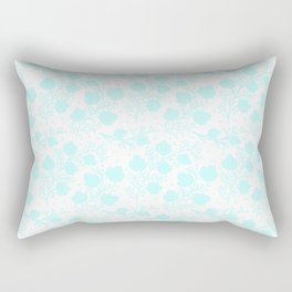 Hand painted watercolor teal polka dots floral pattern Rectangular Pillow