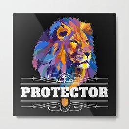 Protector: Lion Metal Print