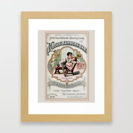 Vintage Barber Shop Advertisement Framed Art Print