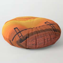 Newport Bridge - Newport, Rhode Island Orange Sunset Floor Pillow