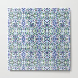 Trippy Digital Pattern in Blue and Green Metal Print