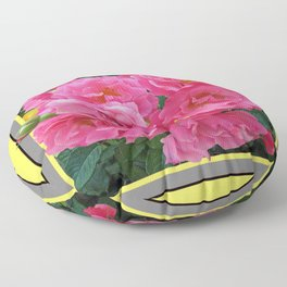 CLUSTERED PINK ROSES YELLOW-GREY ART Floor Pillow