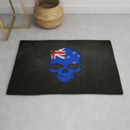 Flag of New Zealand on a Chaotic Splatter Skull Rug