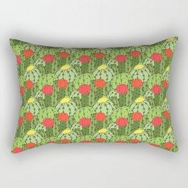 Green and Red Flowering Cactus Pattern Rectangular Pillow