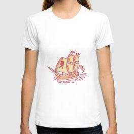 Pirate Sailing Ship Galleon Mono Line T-shirt