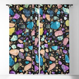 Terrazzo - Gemstones and Gold - Black Marble Blackout Curtain