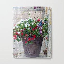 Flowers & Flags Metal Print