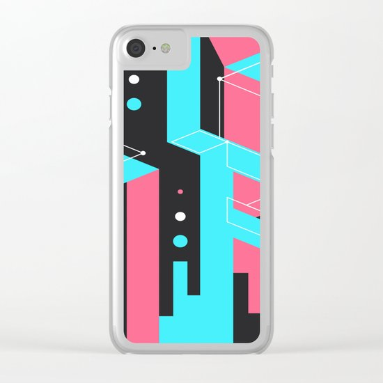 Flat Geometry Clear iPhone Case